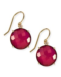 14K Yellow Gold Wire Drop Earrings In Crimson Topaz Kalan By Suzanne Kalan Red