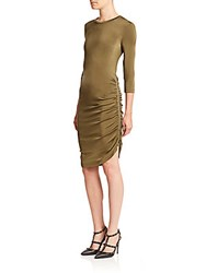 Set Zip Detail Fitted Jersey Dress Khaki
