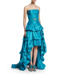 Oscar De La Renta Strapless Tiered Ruffle High Low Gown Aqua Blue