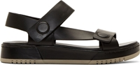 3.1 Phillip Lim Black Buffed Matte Leather Strap Sandals