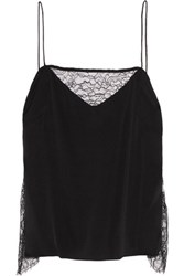 Tanya Taylor Willow Lace Trimmed Stretch Silk Camisole Black
