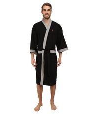 Jockey Waffle Kimono Black With Heather Grey Trim Men's Robe