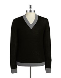 Strellson V Neck Wool Sweater Black