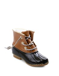 Jack Rogers Chloe Classic Fleece Lined Leather Duck Boots Dark Brown