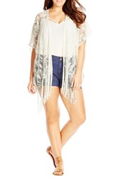 Plus Size Women's City Chic Lace Fringe Kimono
