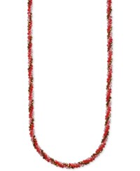 Anne Klein Multi Bead And Crystal Long Statement Necklace Siam