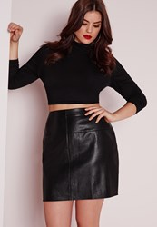 Missguided Plus Size Faux Leather Mini Skirt Black Black