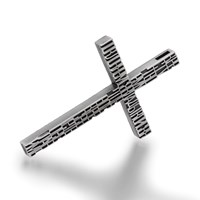 Openjart Thin Carved Cross Necklace Silver