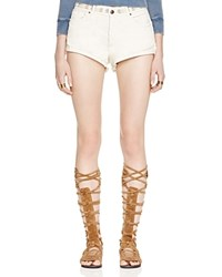 Free People Eliot Embroidered Denim Shorts In Ivory Soda Combo