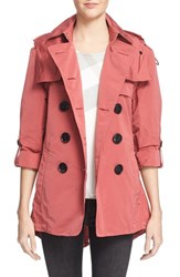 Women's Burberry Brit 'Knightsdale' Belted Drop Tail Hooded Trench Coat Bright Copper Pink