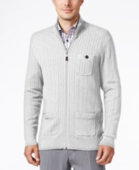 Tasso Elba Men's Big And Tall Ribbed Mock Turtleneck Ribbed Sweater Only At Macy's Light Grey