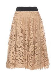 Dolce And Gabbana Corded Lace A Line Skirt Beige
