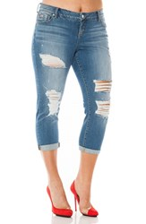 Slink Jeans Plus Size Women's Ripped Roll Cuff Boyfriend Rebecca