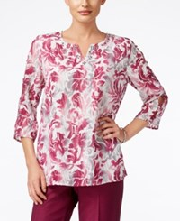 Alfred Dunner Veneto Valley Collection Printed Split Neck Top Multi