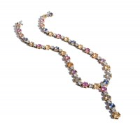 Bayco Multicolor Sapphire And Diamond Spacer Necklace