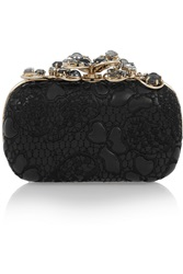 Nina Ricci Embellished Embroidered Leather Clutch Black