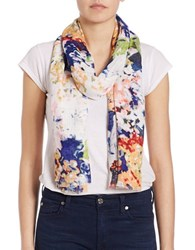 Lord And Taylor Hydrangea Print Scarf Multi Colored