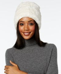 Nine West Faux Fur Cuff Cloche White