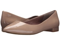 Rockport Total Motion Adelyn Ballet Warm Taupe Soft Patent Women's Dress Flat Shoes Neutral