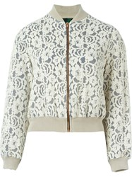 Jean Paul Gaultier Vintage Floral Lace Bomber Jacket Nude And Neutrals