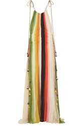 Chloe Tasseled Striped Silk Crepon Gown Orange Green