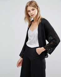 Warehouse Lace Panelled Kimono With Belt Black
