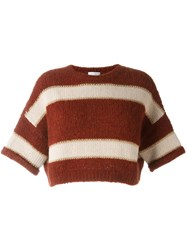 Brunello Cucinelli Striped Cropped Jumper Red