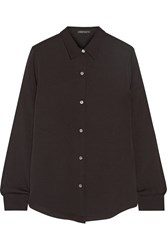 Theory Tenia Silk Crepe Shirt Black