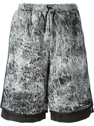 Nasir Mazhar Snakeskin Print Layer Shorts Black