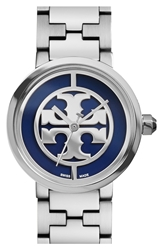 Tory Burch 'Reva' Logo Dial Bracelet Watch 28Mm Silver Navy