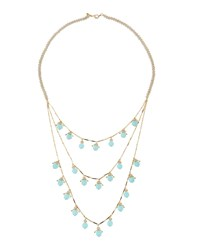 Lydell Nyc Long Golden Beaded Multilayer Necklace Blue