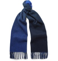 Paul Smith Double Faced Lambswool And Cashmere Blend Scarf Blue
