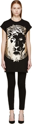 Versus Black Metallic Lion T Shirt