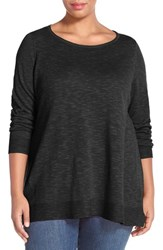 Plus Size Women's Eileen Fisher Boatneck Organic Linen And Cotton Top Black