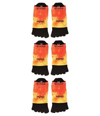 Injinji Run Lightweight No Show 3 Pack Orange Flash No Show Socks Shoes Brown