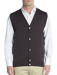 Canali Cotton Sweater Vest Brown