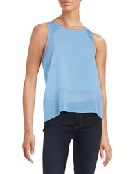 French Connection Sheer Detail Tank Top Vista Blue