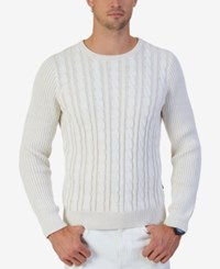 Nautica Men's Cable Knit Crew Neck Sweater Only At Macy's Marshmallow