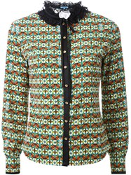 Guild Prime Lace Collar Printed Shirt Green