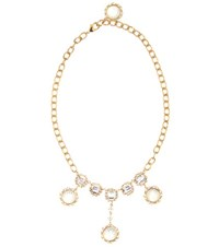 Dolce And Gabbana Crystal Embellished Necklace Gold