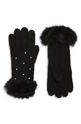 Women's Shiraleah 'Grace' Genuine Rabbit Fur Cuff Tech Gloves