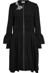 Preen Salma Crystal Embellished Cotton Blend Twill Coat Black