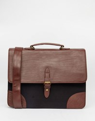 Asos Smart Satchel With Canvas Brown