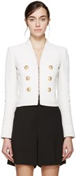 Balmain Off White Cropped Linen Blazer