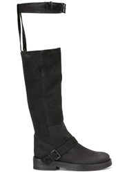 Ann Demeulemeester Icon Buckle Strap Knee Boots Black
