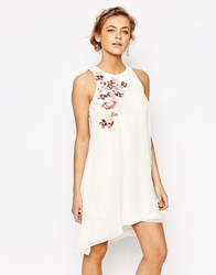 Little Mistress Shift Dress In Chiffon With Embroidery Cream