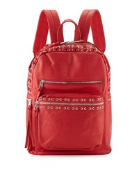 Ash Billy Leather Backpack W Laces Red