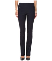 Lisette L Montreal Solid Magical Lycra True Straight Navy Women's Casual Pants