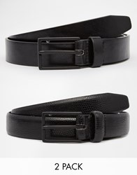 Asos Smart Belt In Faux Leather And Snakeskin 2 Pack Save 20 Black