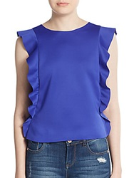 Saks Fifth Avenue Red Double Ruffled Top Cobalt